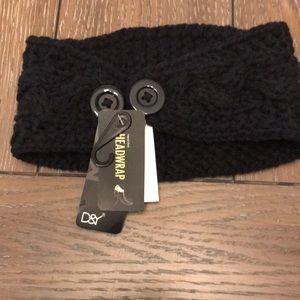 NWT black knit head warmer